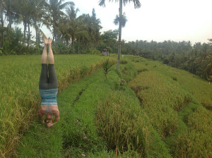 Katie doing yoga in Bali